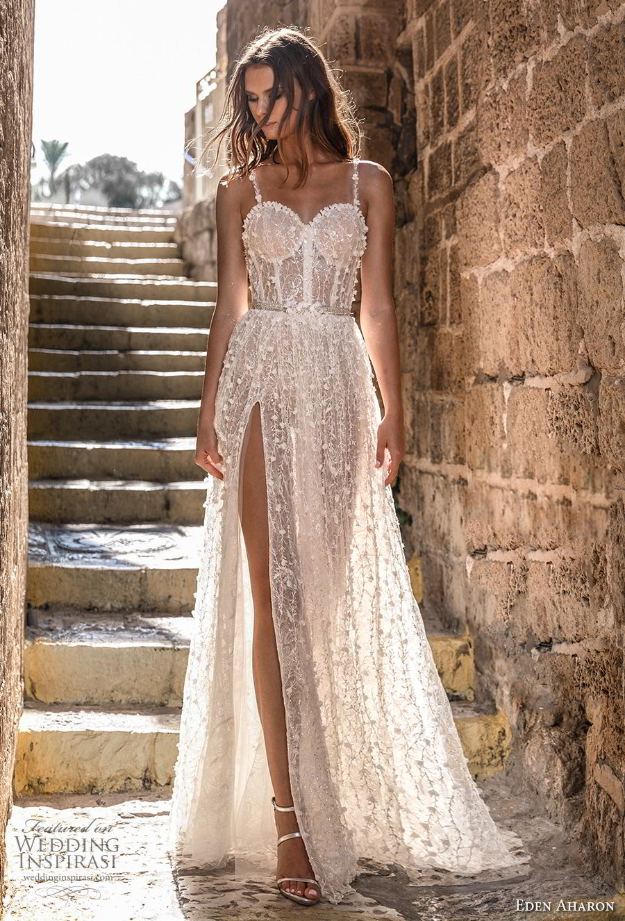 eden aharon 2019 bridal sleeveless thin strap sweetheart neckline full embellishment bustier slit skirt romantic sexy a  line wedding dress sweep train (11) mv