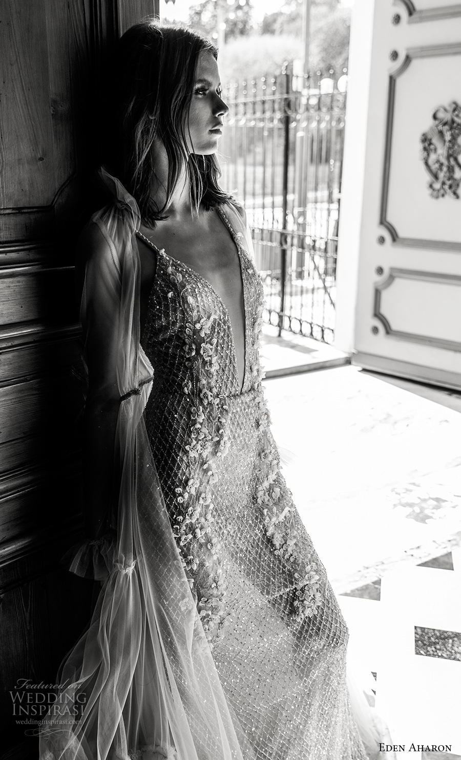 eden aharon 2019 bridal spaghetti strap deep plunging v neck full embellishment glizty glamorous sexy a  line wedding dress (13) mv