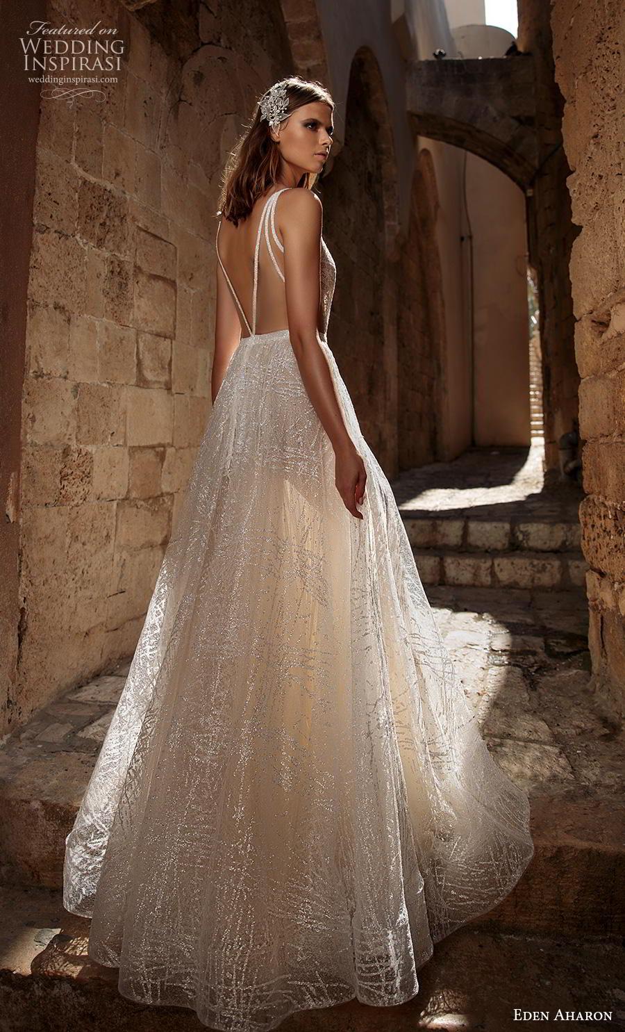 eden aharon 2019 bridal spaghetti strap deep v neck full embellishment glitzy romantic soft a  line wedding dress backless v back sweep train (9) bv