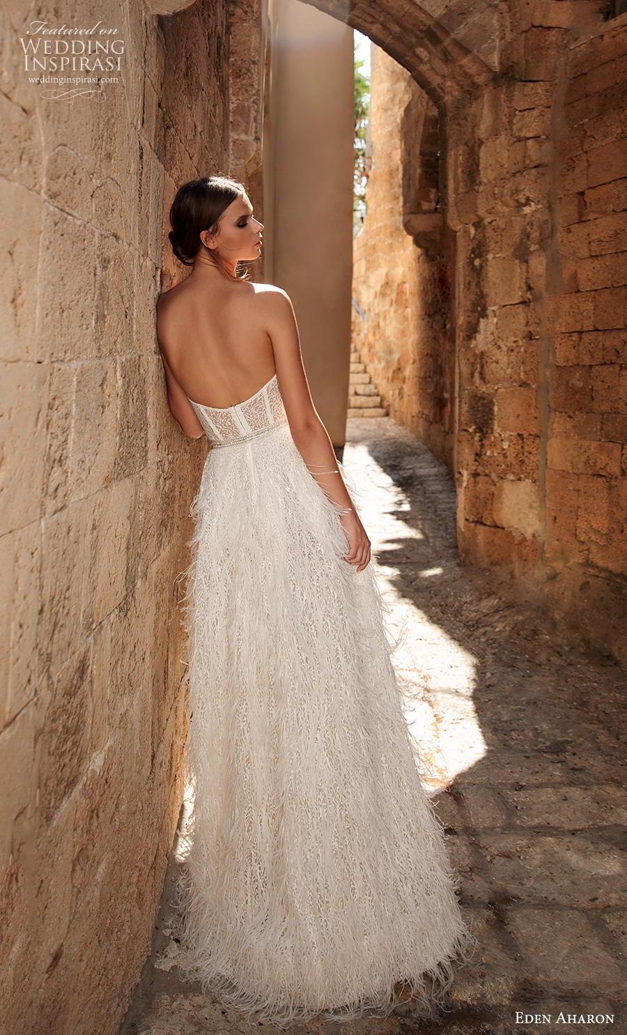 eden aharon 2019 bridal strapless sweetheart neckline full embellishment bustier fringe skirt romantic a  line wedding dress with cape sweep dress (5) bv