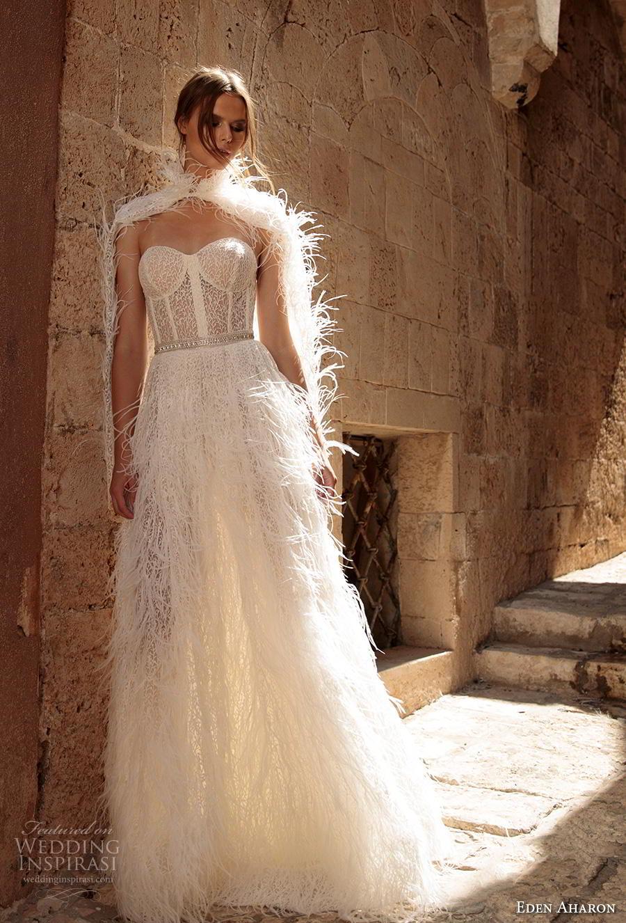 eden aharon 2019 bridal strapless sweetheart neckline full embellishment bustier fringe skirt romantic a  line wedding dress with cape sweep dress (5) mv