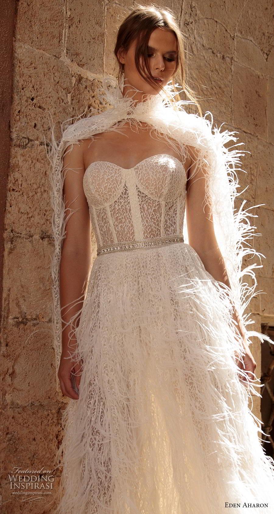 eden aharon 2019 bridal strapless sweetheart neckline full embellishment bustier fringe skirt romantic a  line wedding dress with cape sweep dress (5) zv