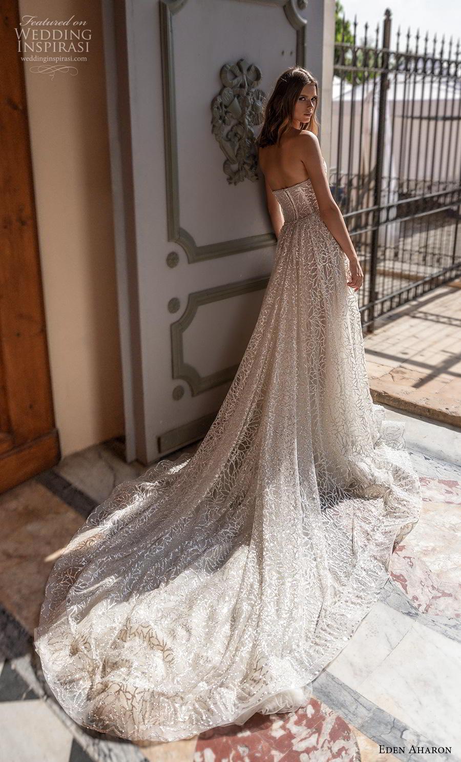 eden aharon 2019 bridal strapless sweetheart neckline full embellishment bustier romantic a  line wedding dress mid back royal train (1) bv