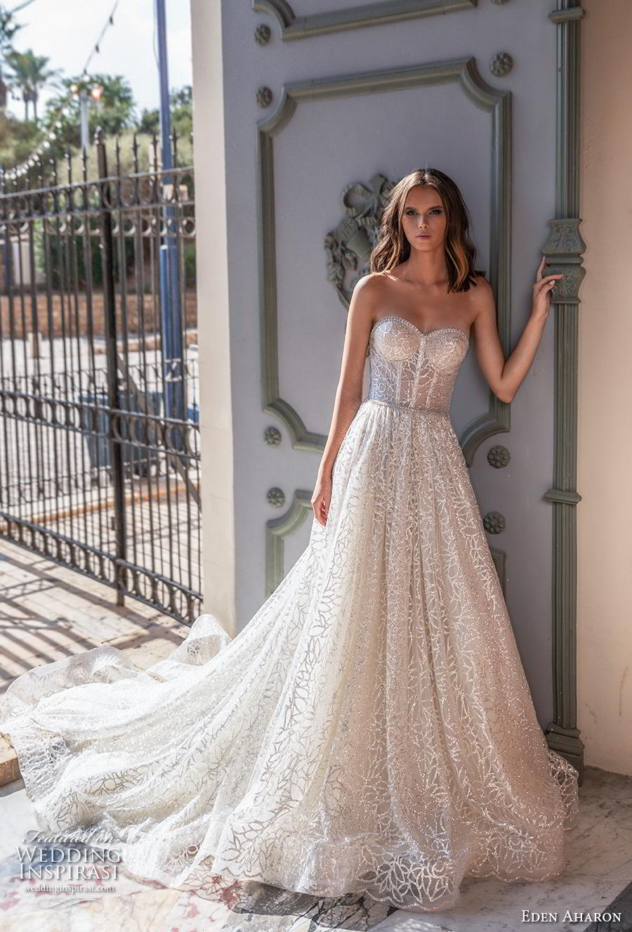 eden aharon 2019 bridal strapless sweetheart neckline full embellishment bustier romantic a  line wedding dress mid back royal train (1) mv