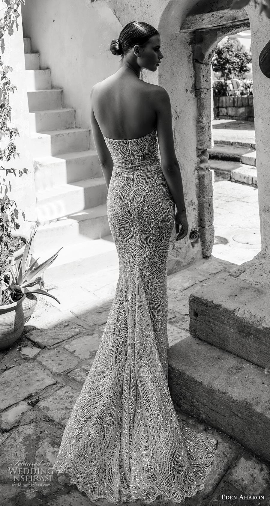 eden aharon 2019 bridal strapless sweetheart neckline full embellishment elegant sheath wedding dress mid back sweep train (2) bv