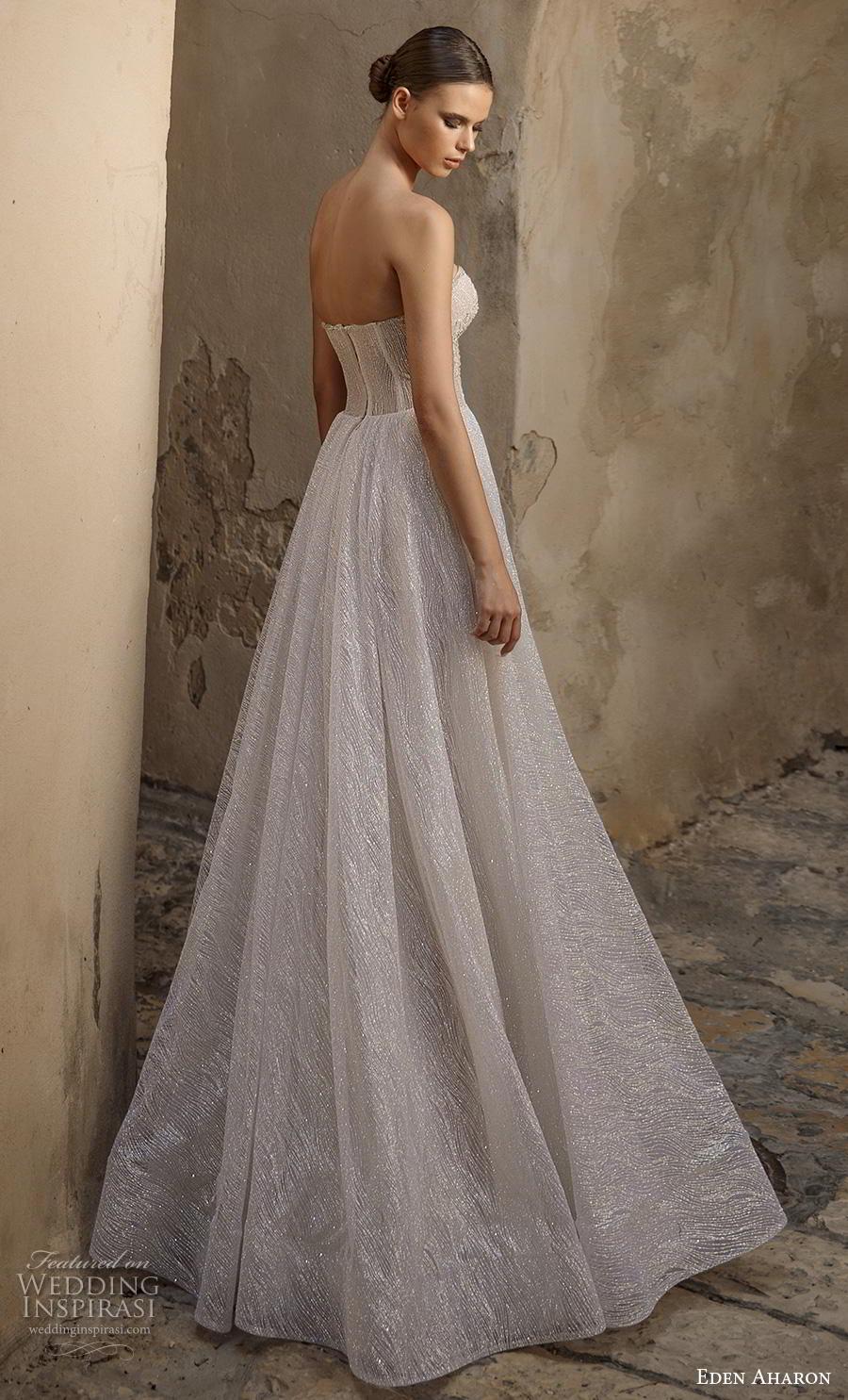 eden aharon 2019 bridal strapless sweetheart neckline heavily embellished bodice glitzy romantic a  line wedding dress mid back sweep train (8) bv