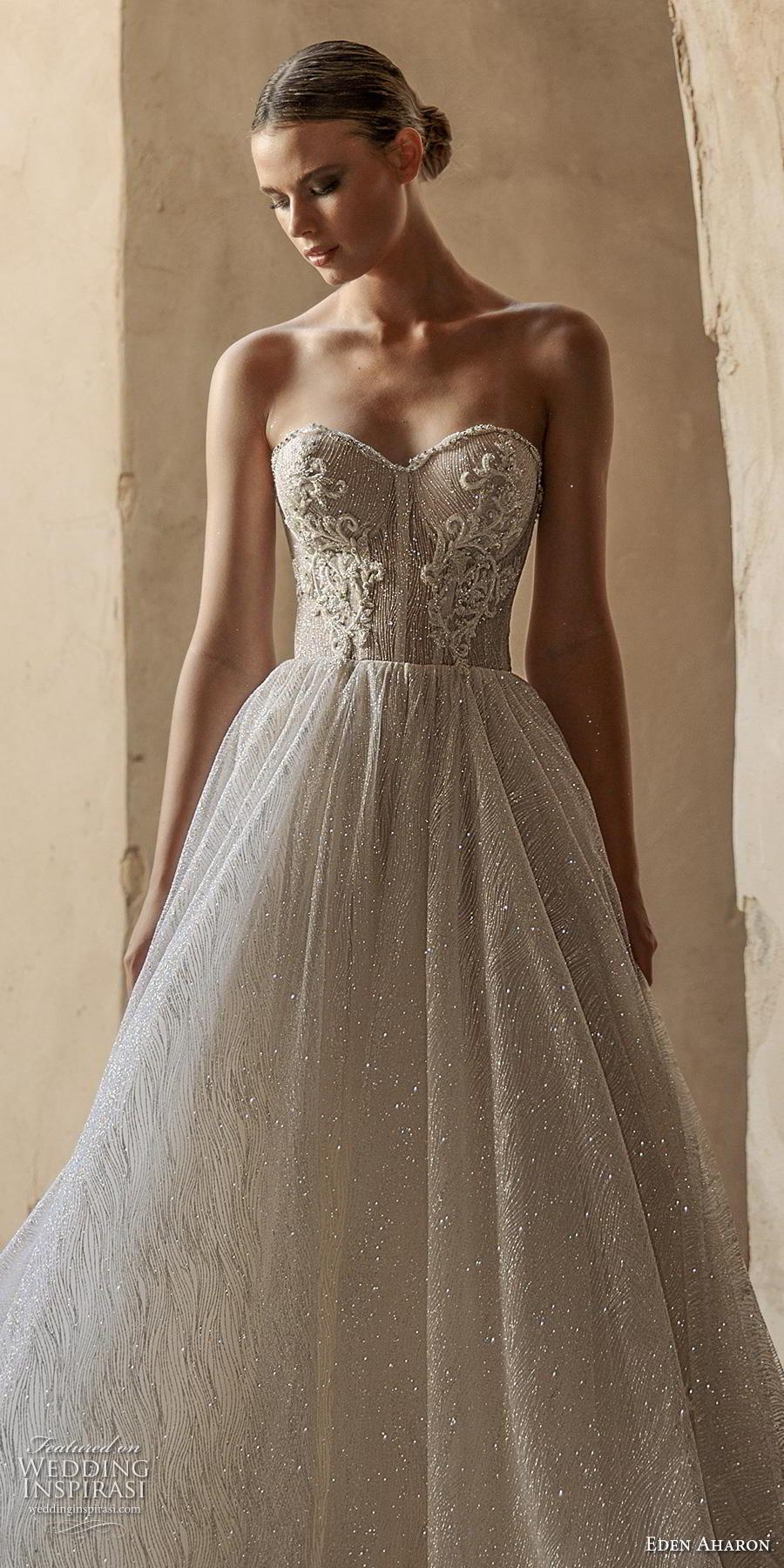 eden aharon 2019 bridal strapless sweetheart neckline heavily embellished bodice glitzy romantic a  line wedding dress mid back sweep train (8) lv