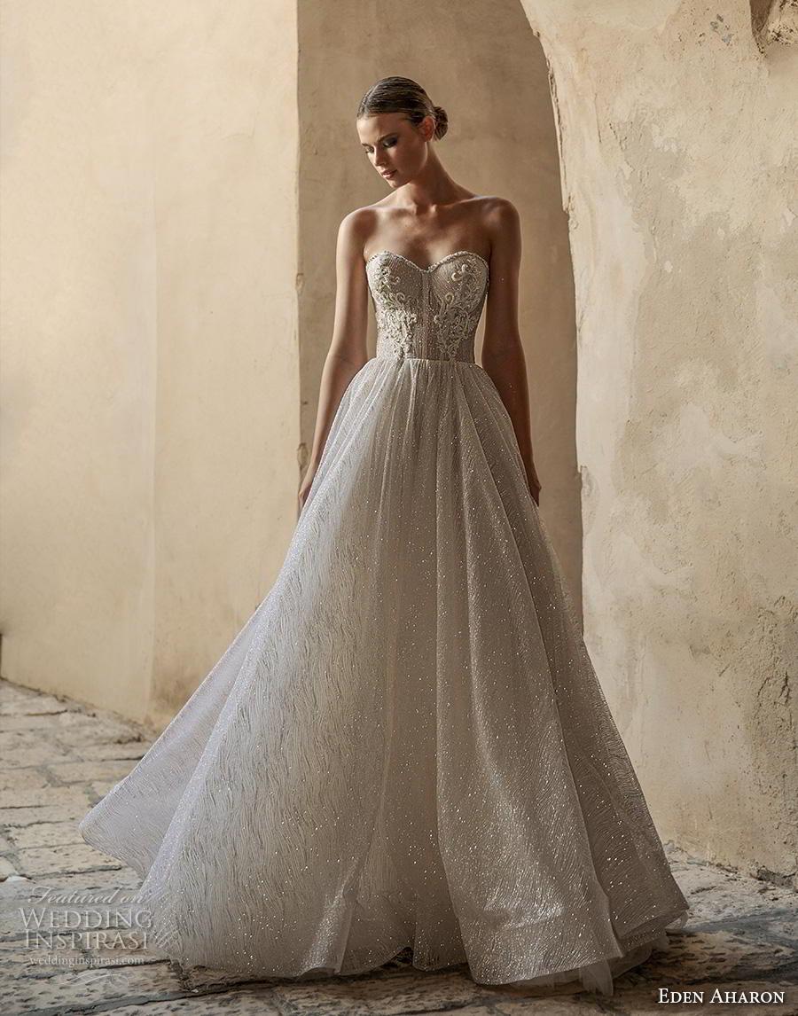 eden aharon 2019 bridal strapless sweetheart neckline heavily embellished bodice glitzy romantic a  line wedding dress mid back sweep train (8) mv
