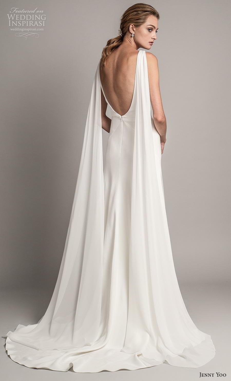 jenny yoo spring 2019 bridal long hanging sleeves deep v neck simple minimalist elegant clean look modified a  line wedding dress backless scoop back short train (1) bv