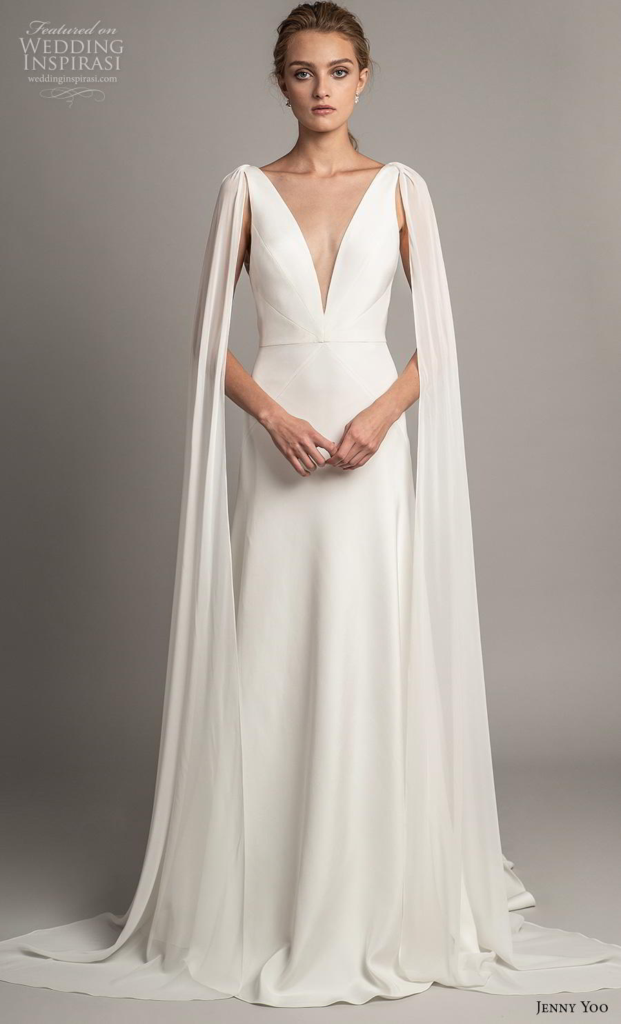 jenny yoo spring 2019 bridal long hanging sleeves deep v neck simple minimalist elegant clean look modified a  line wedding dress backless scoop back short train (1) mv