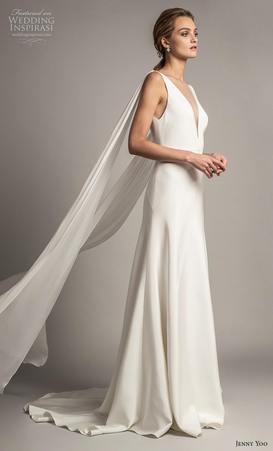 jenny yoo spring 2019 bridal long hanging sleeves deep v neck simple minimalist elegant clean look modified a  line wedding dress backless scoop back short train (1) sdv