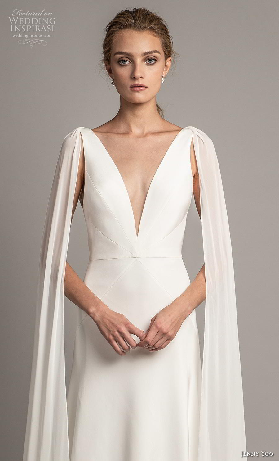 jenny yoo spring 2019 bridal long hanging sleeves deep v neck simple minimalist elegant clean look modified a  line wedding dress backless scoop back short train (1) zv
