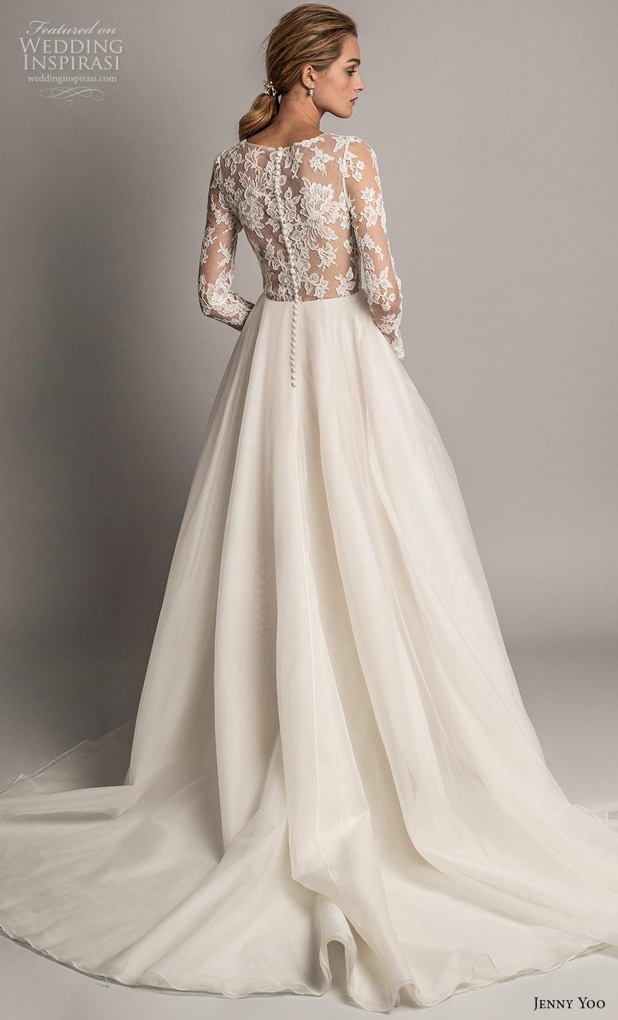 jenny yoo spring 2019 bridal long sleeves v neck heavily embellished bodice tiered skirt romantic ball gown a  line wedding dress covered lace back chapel train (2) bv