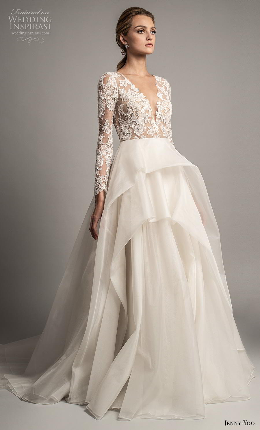jenny yoo spring 2019 bridal long sleeves v neck heavily embellished bodice tiered skirt romantic ball gown a  line wedding dress covered lace back chapel train (2) mv