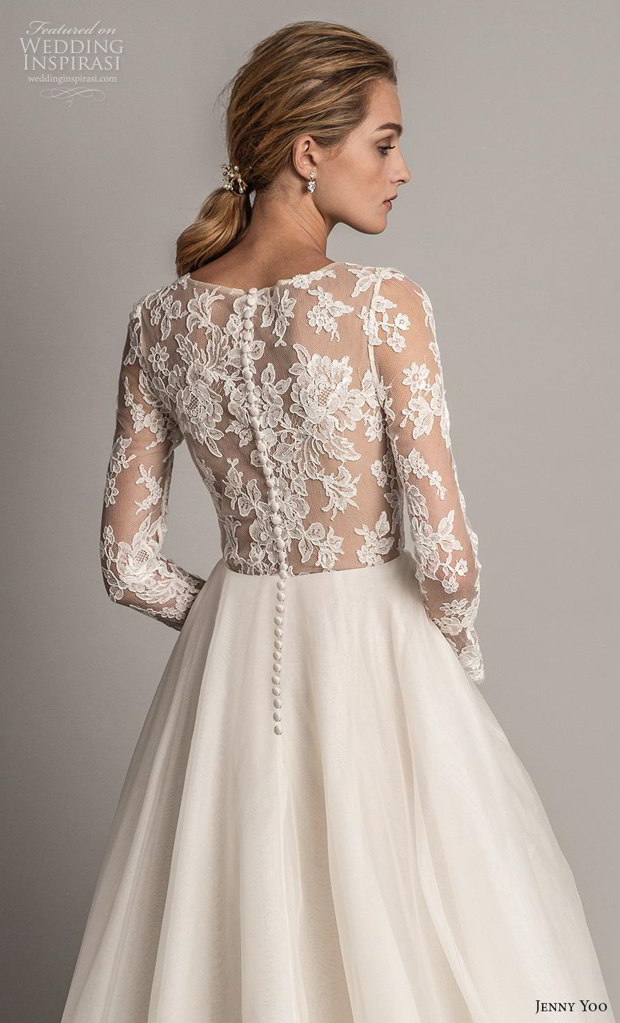 jenny yoo spring 2019 bridal long sleeves v neck heavily embellished bodice tiered skirt romantic ball gown a  line wedding dress covered lace back chapel train (2) zbv