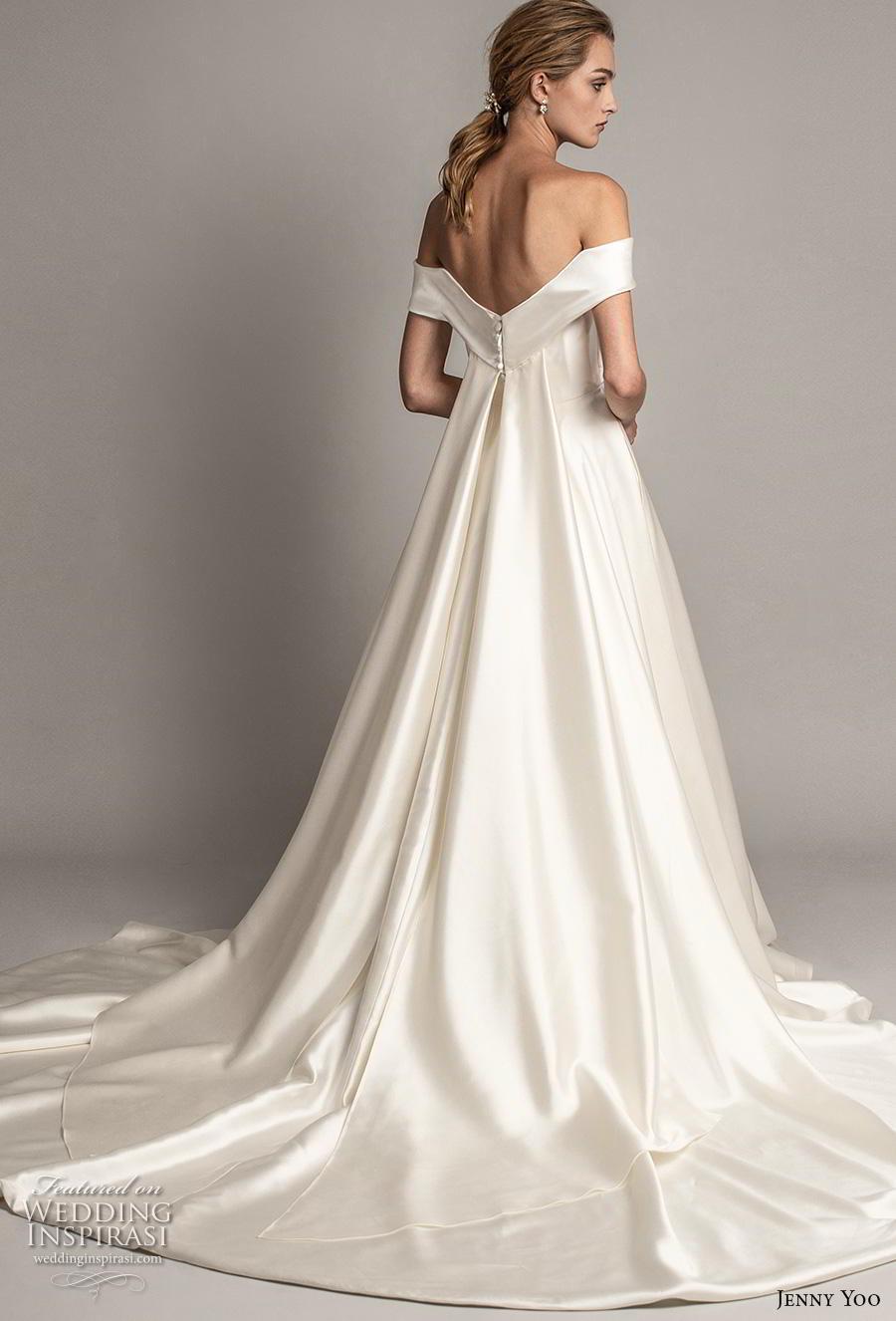 jenny yoo spring 2019 bridal off the shoulder sweetheart neckline simple minimalist elegant a  line wedding dress pockets mid back chapel train (5) bv