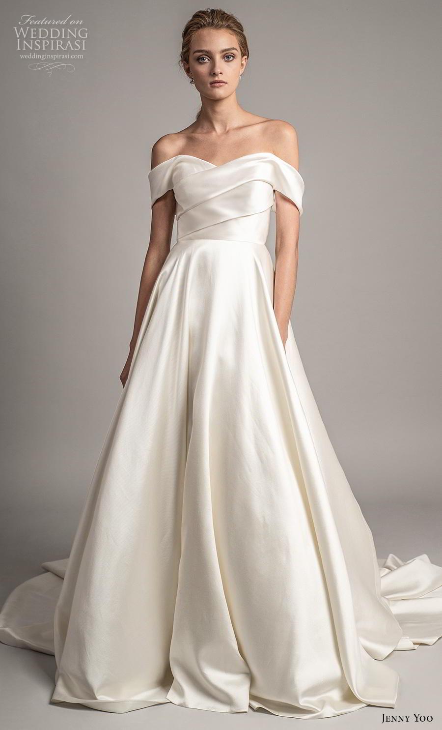 jenny yoo spring 2019 bridal off the shoulder sweetheart neckline simple minimalist elegant a  line wedding dress pockets mid back chapel train (5) mv