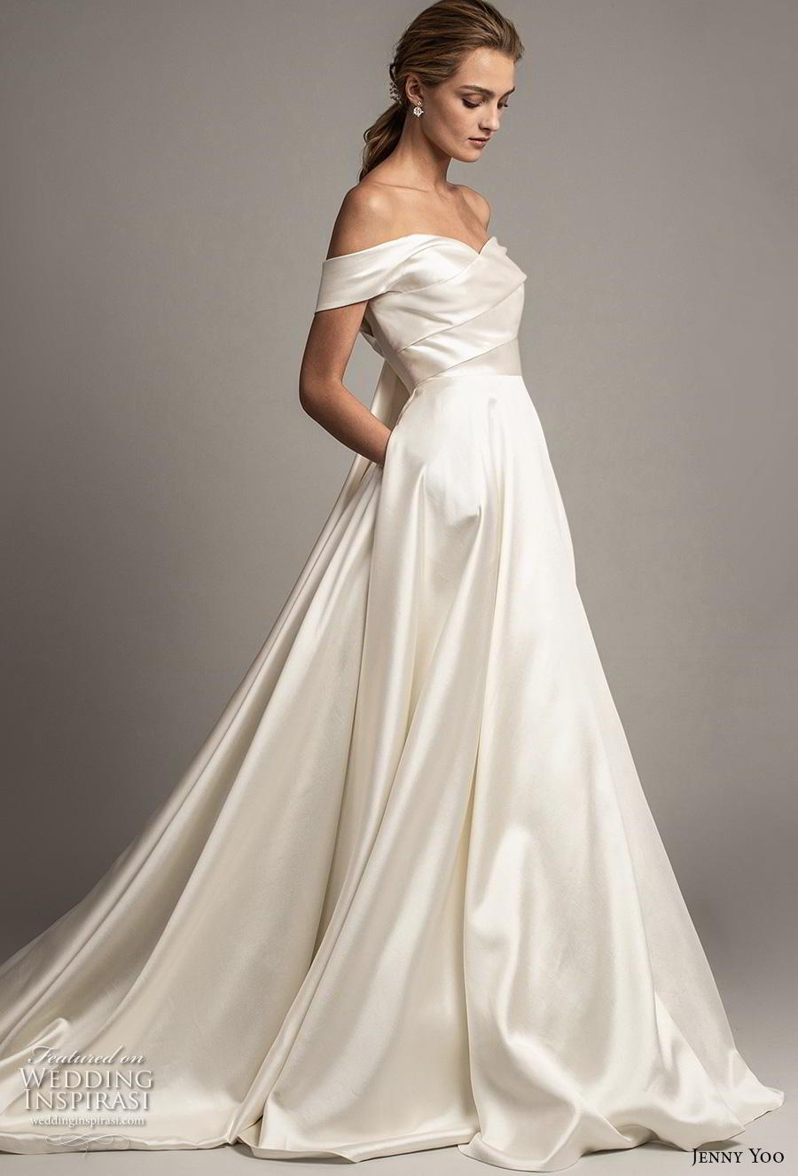 jenny yoo spring 2019 bridal off the shoulder sweetheart neckline simple minimalist elegant a  line wedding dress pockets mid back chapel train (5) sdv