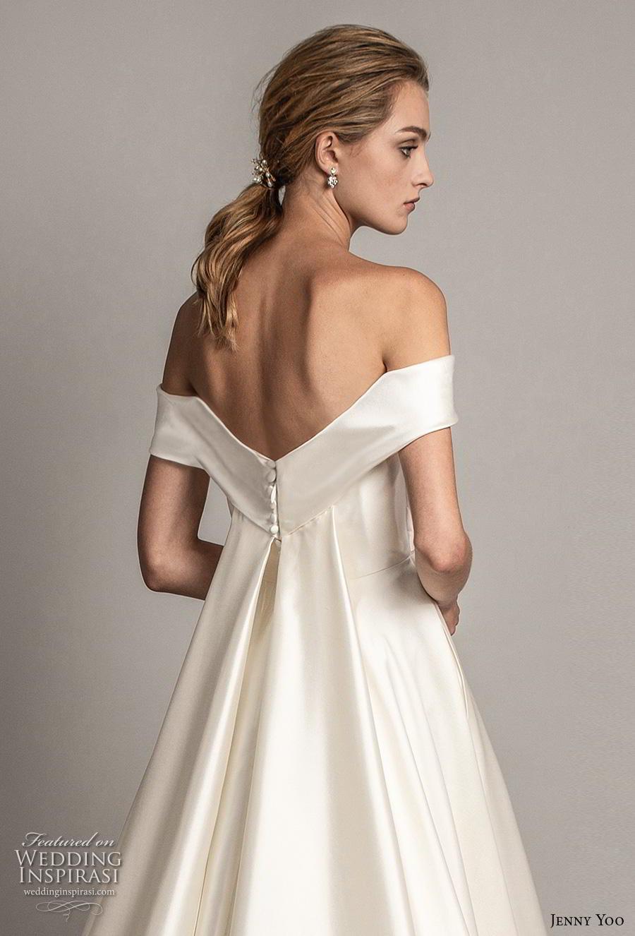 jenny yoo spring 2019 bridal off the shoulder sweetheart neckline simple minimalist elegant a  line wedding dress pockets mid back chapel train (5) zbv