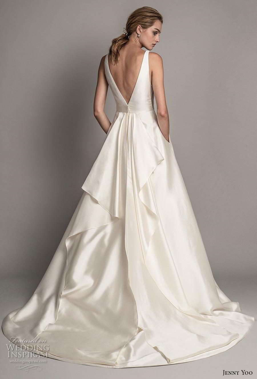 jenny yoo spring 2019 bridal sleeveless deep v neck simple minimalist satin elegant classic a  line wedding dress pockets backless v back short train (9) bv