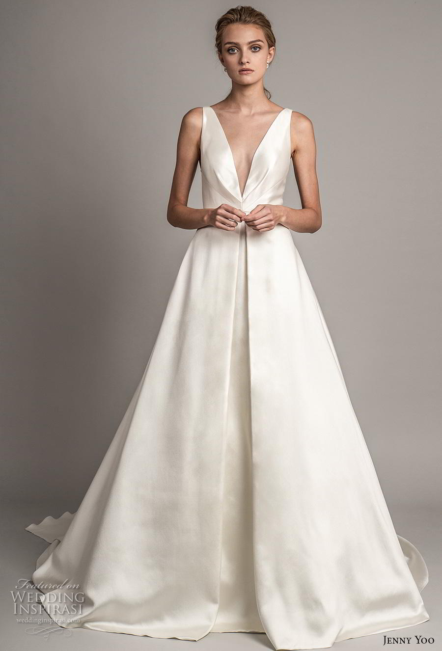 jenny yoo spring 2019 bridal sleeveless deep v neck simple minimalist satin elegant classic a  line wedding dress pockets backless v back short train (9) mv
