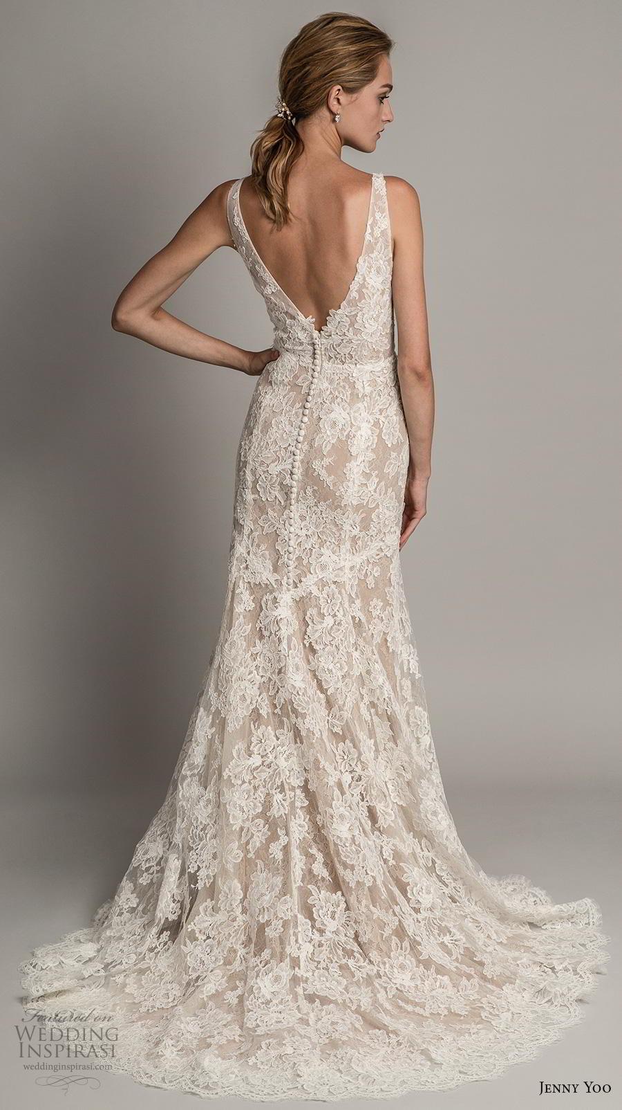 jenny yoo spring 2019 bridal sleeveless v neck full embellishment elegant sheath modified a  line wedding dress  backless v back medium train (3) bv