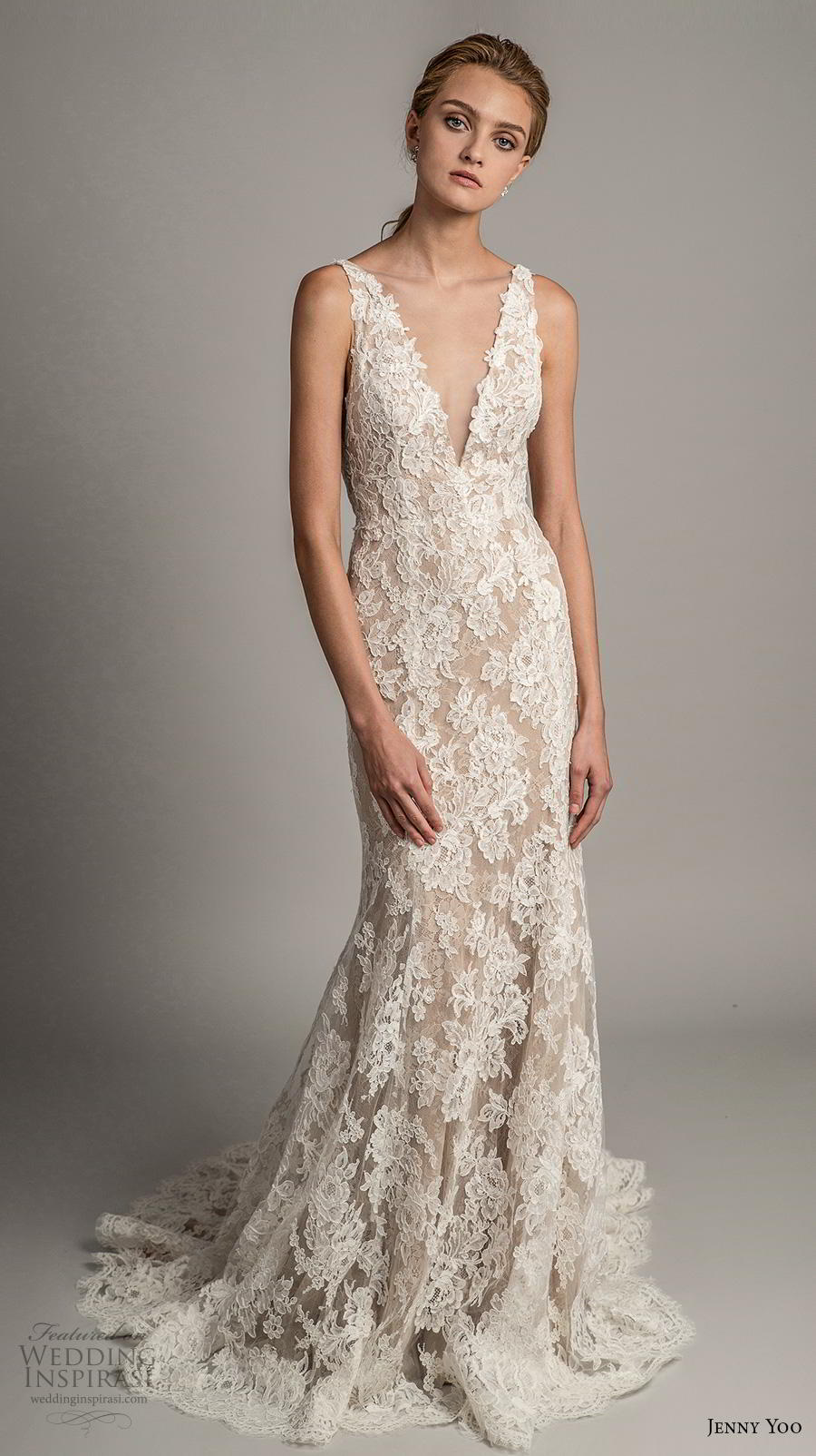 jenny yoo spring 2019 bridal sleeveless v neck full embellishment elegant sheath modified a  line wedding dress  backless v back medium train (3) mv