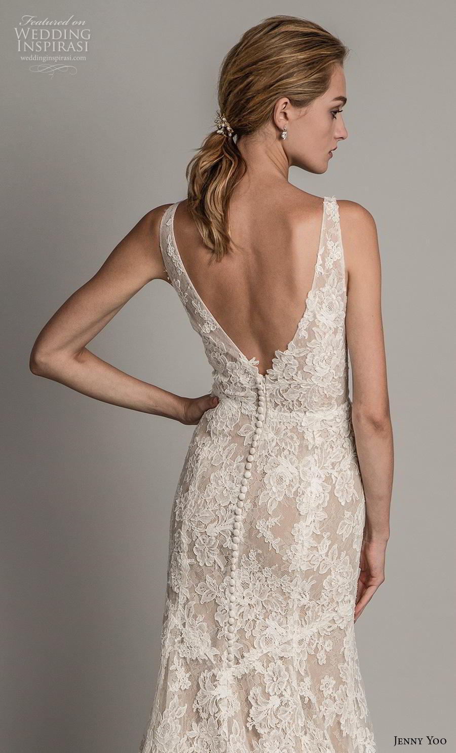 jenny yoo spring 2019 bridal sleeveless v neck full embellishment elegant sheath modified a  line wedding dress  backless v back medium train (3) zbv