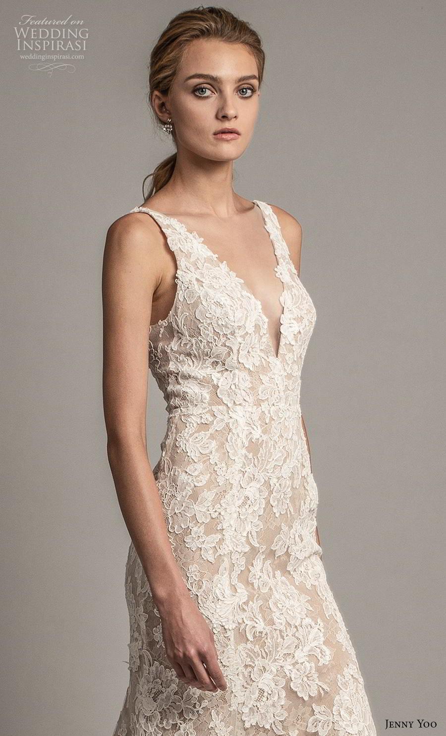 jenny yoo spring 2019 bridal sleeveless v neck full embellishment elegant sheath modified a  line wedding dress  backless v back medium train (3) zv