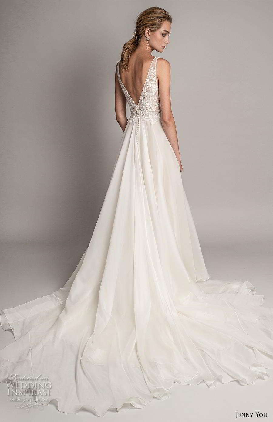 jenny yoo spring 2019 bridal sleeveless v neck heavily embellished bodice romantic a  line wedding dress backless v back chapel train (4) bv