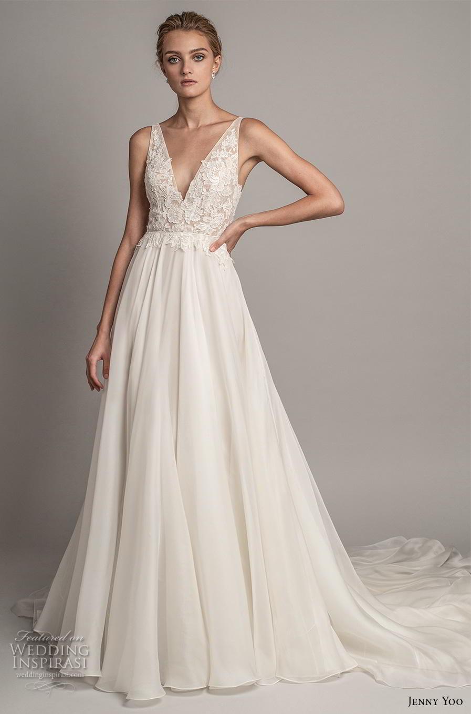 jenny yoo spring 2019 bridal sleeveless v neck heavily embellished bodice romantic a  line wedding dress backless v back chapel train (4) mv