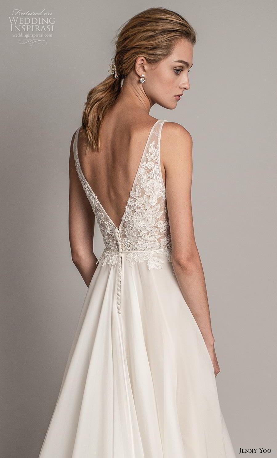 jenny yoo spring 2019 bridal sleeveless v neck heavily embellished bodice romantic a  line wedding dress backless v back chapel train (4) zbv