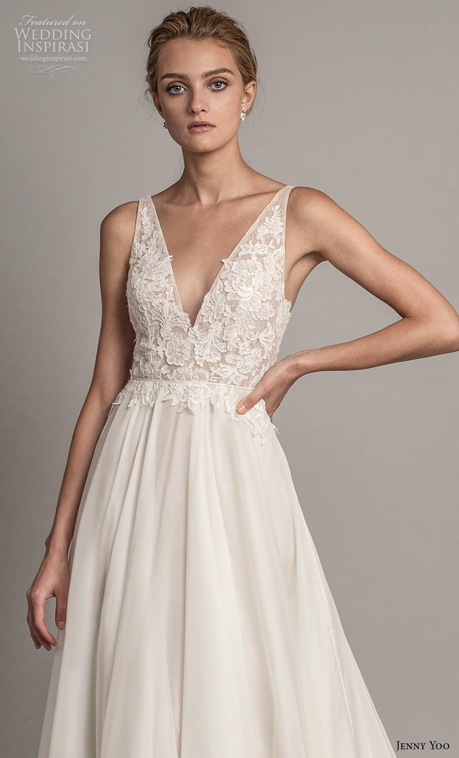 jenny yoo spring 2019 bridal sleeveless v neck heavily embellished bodice romantic a  line wedding dress backless v back chapel train (4) zv