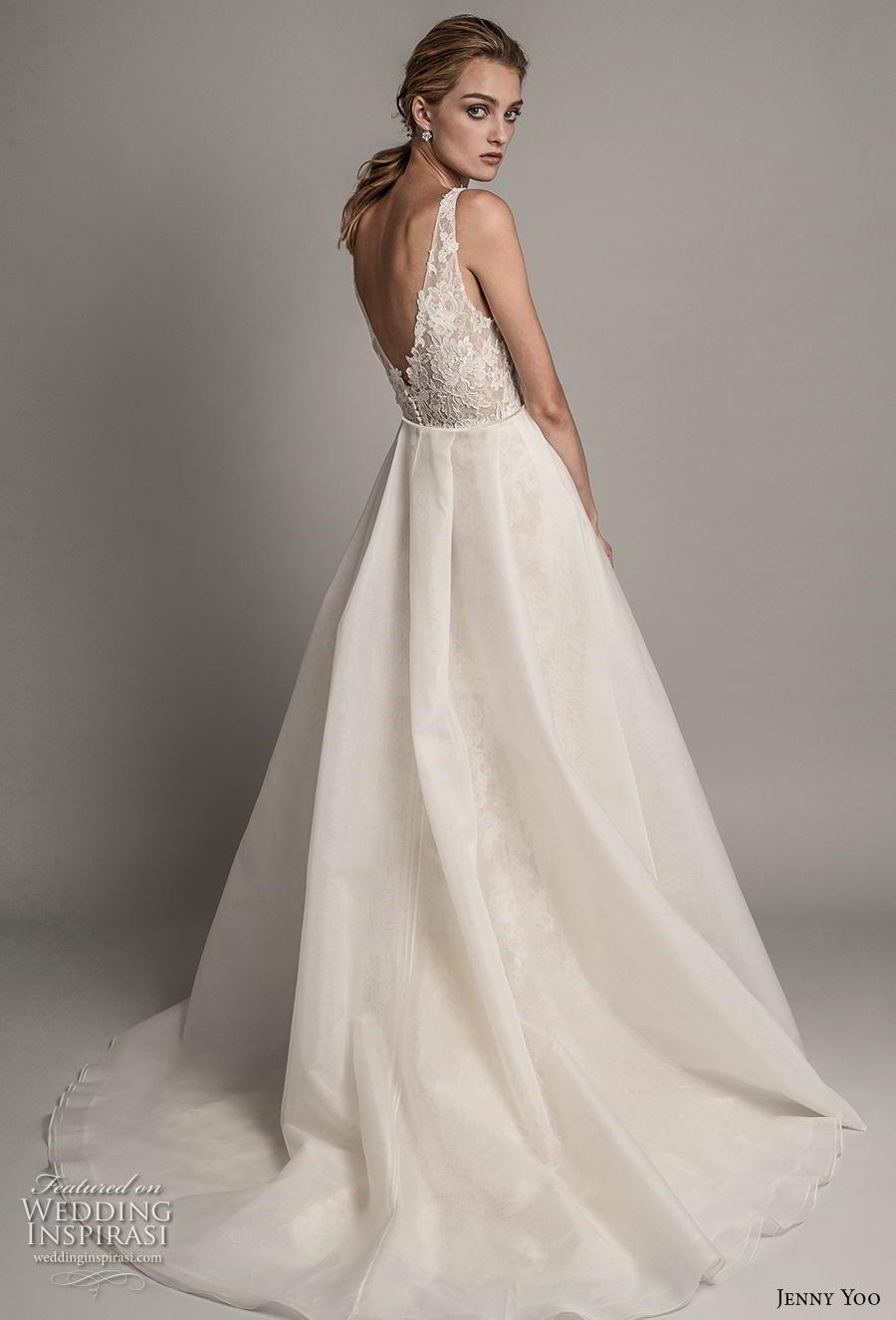 jenny yoo spring 2019 bridal sleeveless with strap deep v neck full embellishment elegant sheath wedding dress a  line overskirt backless v back chapel train (8) bv