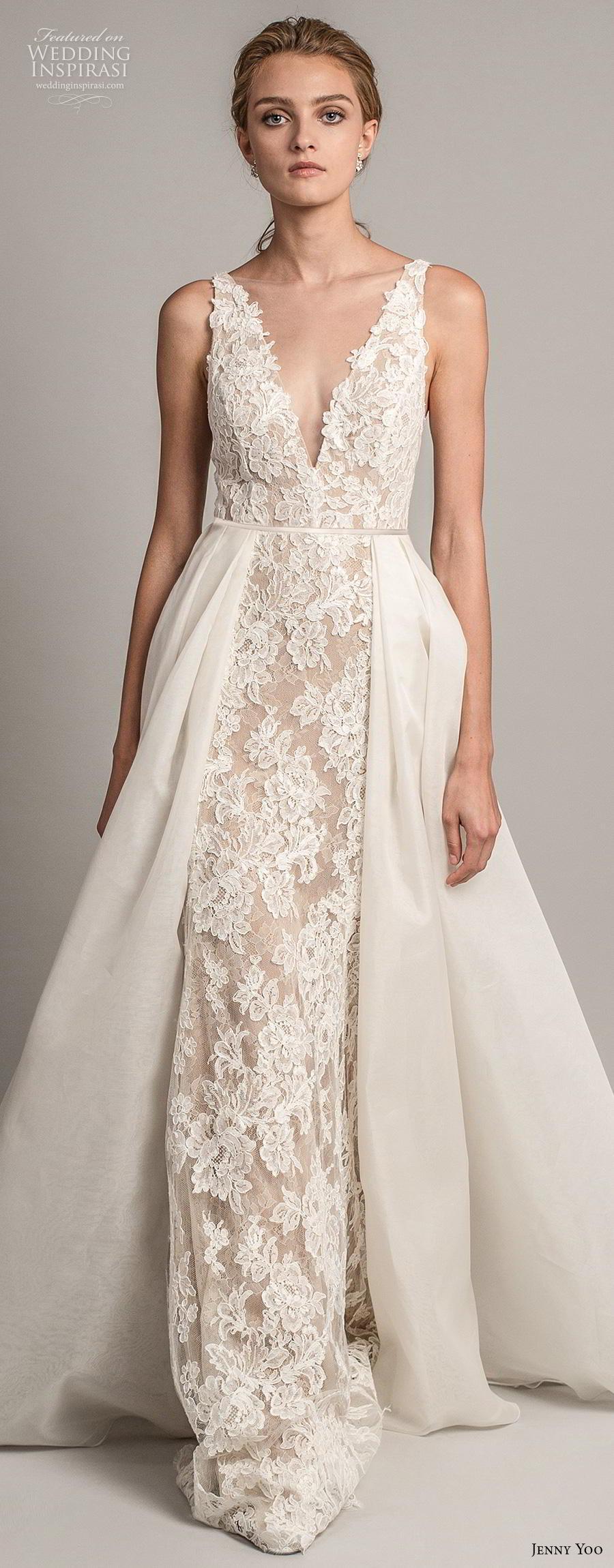 jenny yoo spring 2019 bridal sleeveless with strap deep v neck full embellishment elegant sheath wedding dress a  line overskirt backless v back chapel train (8) lv