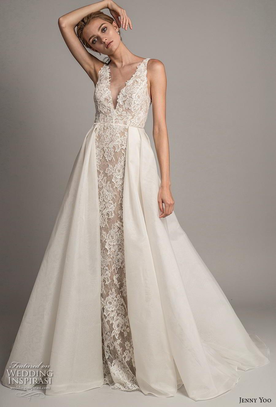 jenny yoo spring 2019 bridal sleeveless with strap deep v neck full embellishment elegant sheath wedding dress a  line overskirt backless v back chapel train (8) mv