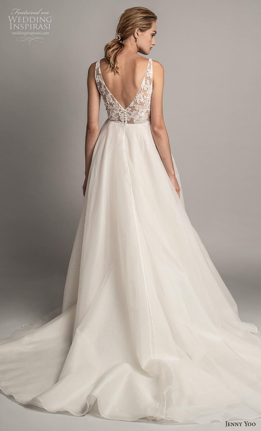 jenny yoo spring 2019 bridal sleeveless with strap deep v neck heavily embellished bodice tiered skirt romantic ball gown a  line wedding dress backless v back chapel train (7) bv