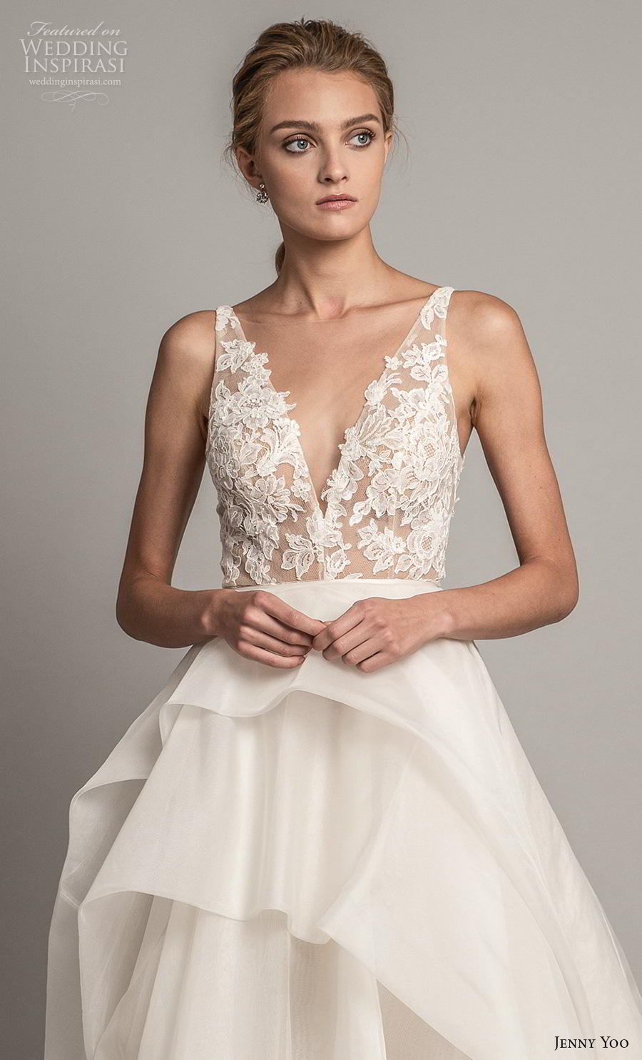 jenny yoo spring 2019 bridal sleeveless with strap deep v neck heavily embellished bodice tiered skirt romantic ball gown a  line wedding dress backless v back chapel train (7) zv
