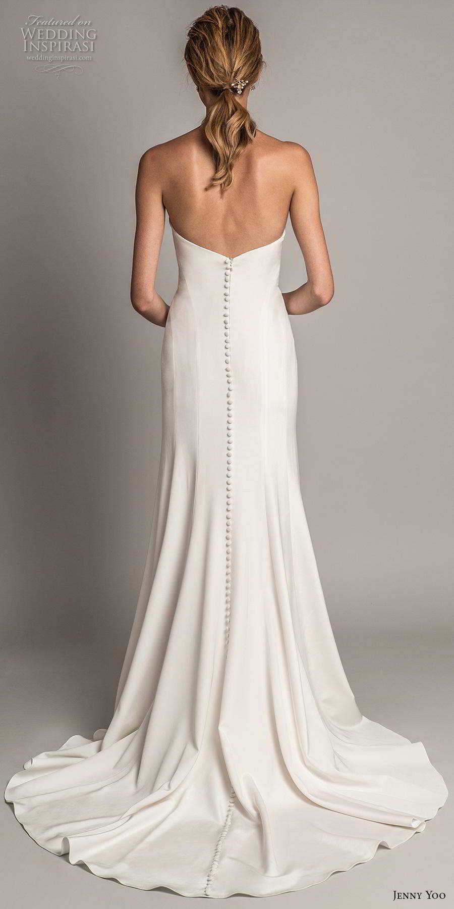 jenny yoo spring 2019 bridal strapless semi sweetheart neckline simple clean minimalist elegant modified a  line wedding dress medium train (6) bv