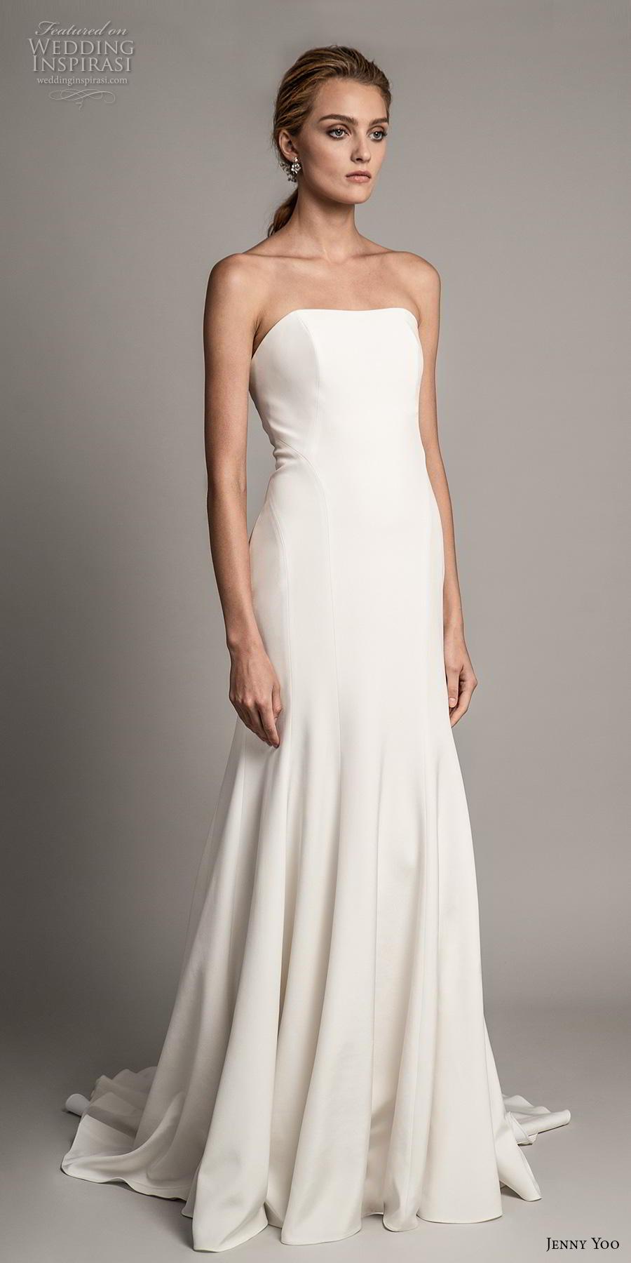 jenny yoo spring 2019 bridal strapless semi sweetheart neckline simple clean minimalist elegant modified a  line wedding dress medium train (6) mv