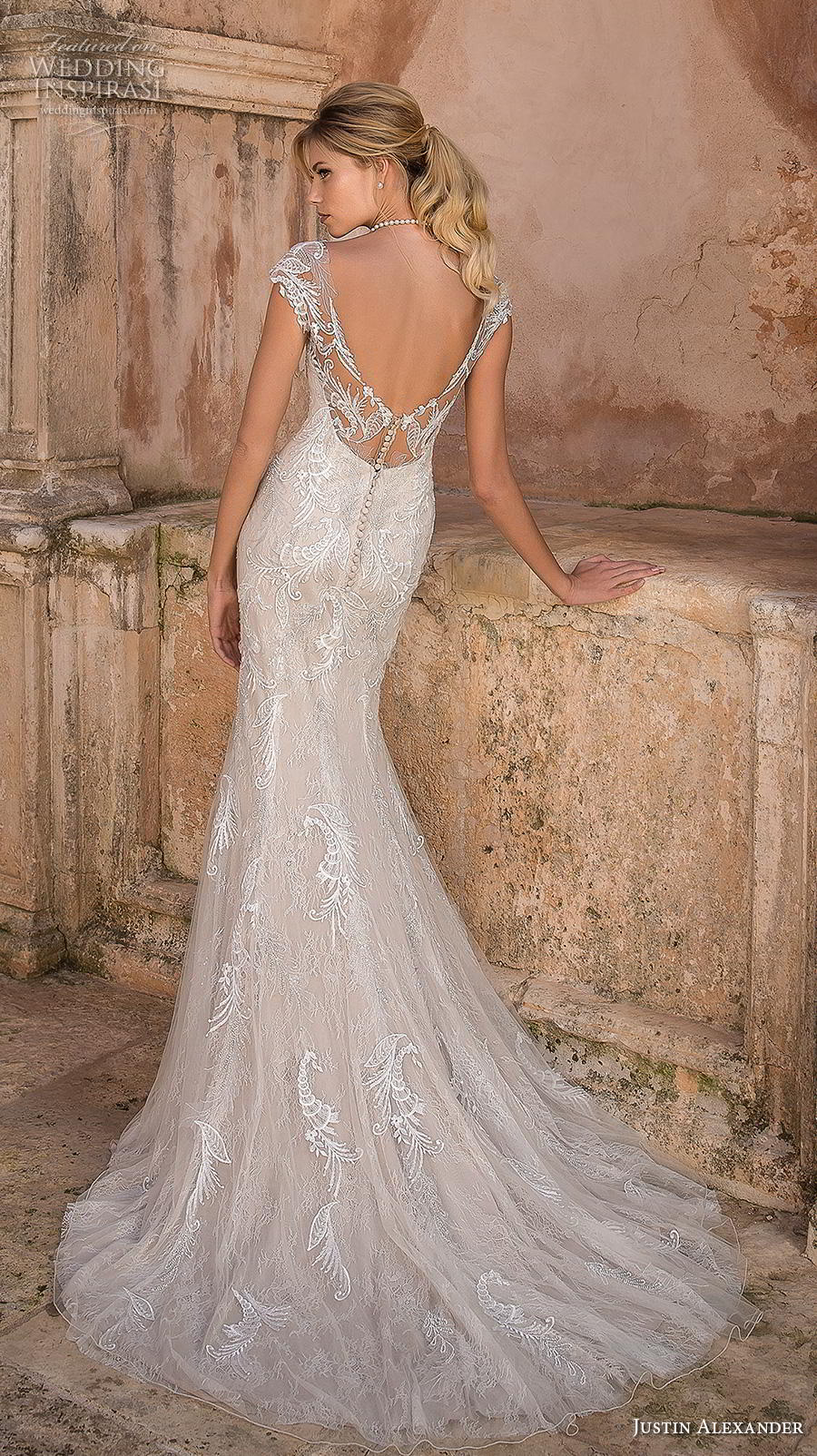 justin alexander spring 2019 bridal cap sleeves illusion bateau sweetheart neckline full embellishment elegant glamorous fit and flare sheath wedding dress backless v back medium train (11) bv