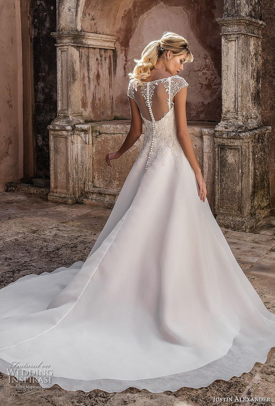 justin alexander spring 2019 bridal cap sleeves illusion bateau sweetheart neckline heavily embellished bodice classic romantic a line wedding dress sheer button back chapel train (12) bv