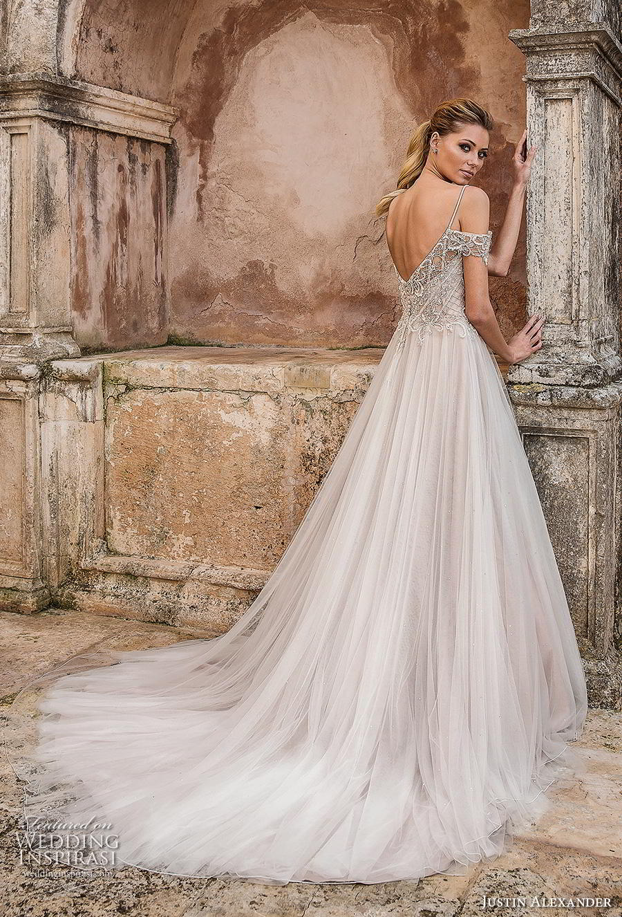 justin alexander spring 2019 bridal cold shoulder spaghetti strap sweetheart neckline heavily embellished bodice tulle skirt romantic a line wedding dress open v back chapel train (2) bv