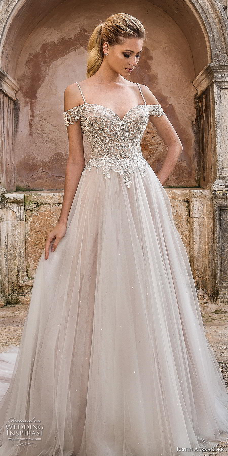 justin alexander spring 2019 bridal cold shoulder spaghetti strap sweetheart neckline heavily embellished bodice tulle skirt romantic a line wedding dress open v back chapel train (2) lv