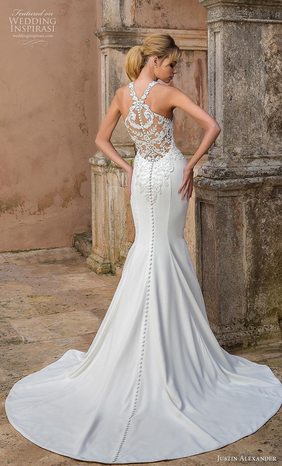 justin alexander spring 2019 bridal halter neck heavily embellished bodice elegant fit and flare trumpet wedding dress rasor back medium train (10) bv