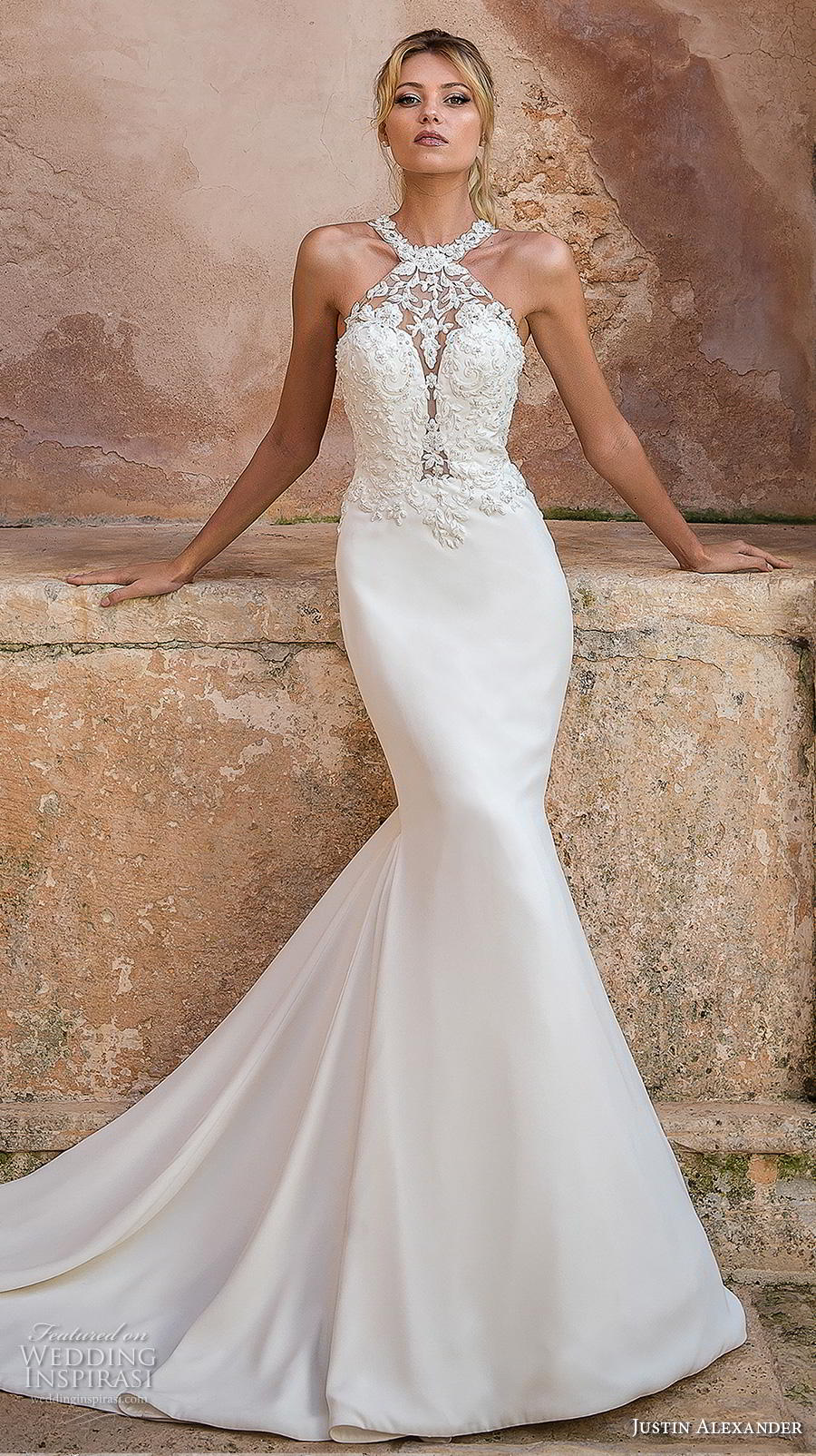 justin alexander spring 2019 bridal halter neck heavily embellished bodice elegant fit and flare trumpet wedding dress rasor back medium train (10) mv