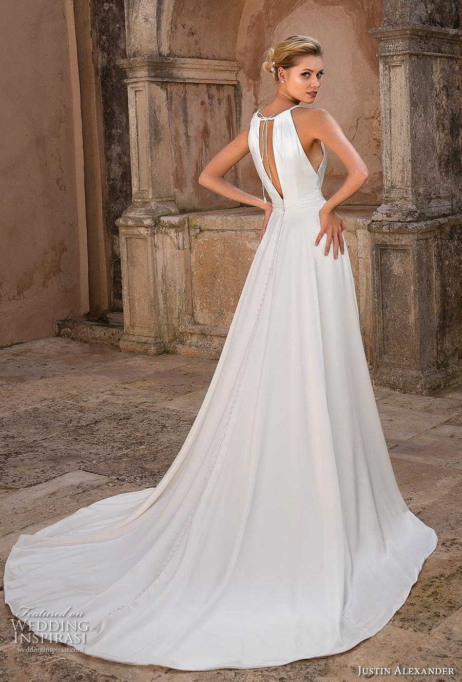justin alexander spring 2019 bridal halter neck keyhole neckline simple elegant grecian modified a line wedding dress keyhole back chapel train (15) bv
