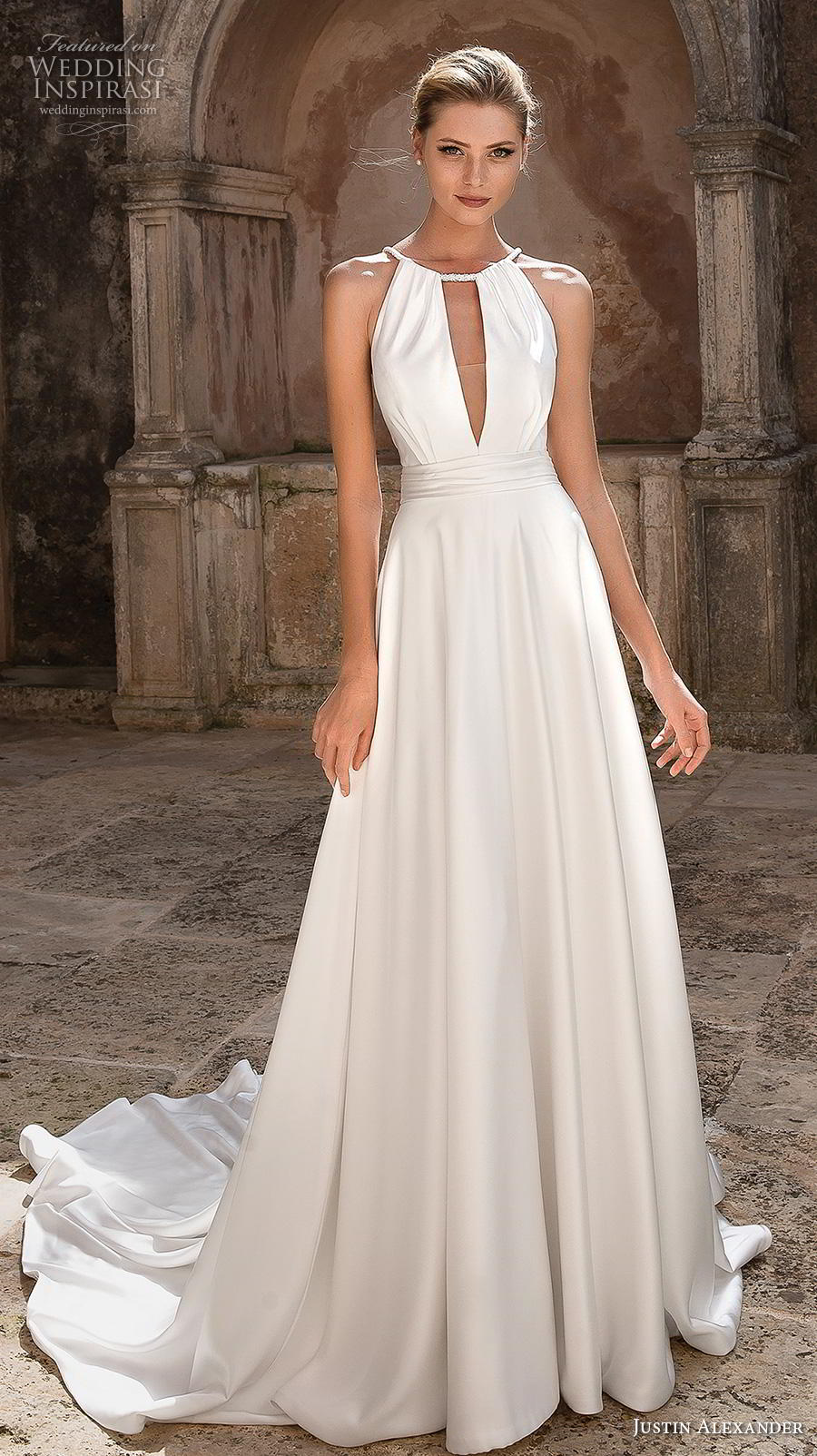 justin alexander spring 2019 bridal halter neck keyhole neckline simple elegant grecian modified a line wedding dress keyhole back chapel train (15) mv