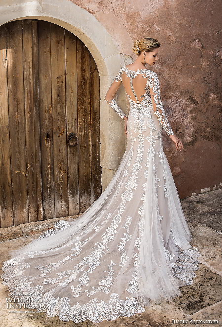 justin alexander spring 2019 bridal long sleeves illusion bateu sweetheart neckline full embellishment elegant fit and flare mermaid wedding dress sheer button back chapel train (1) bv