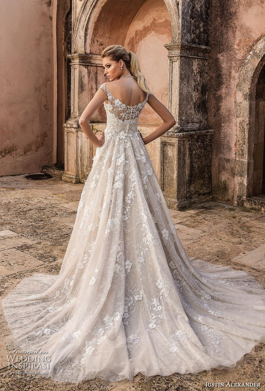 justin alexander spring 2019 bridal off the shoulder deep plunging v neck full embellishment romantic a line wedding dress mid back chapel train (3) bv